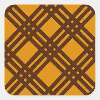 Brown and Orange Lattice Square Sticker