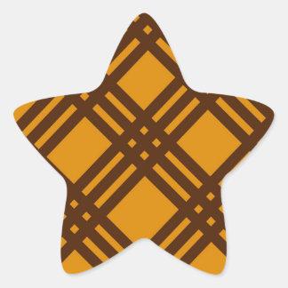 Brown and Orange Lattice Star Sticker