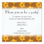 "Brown and Orange Lily Pattern. 5.25"" Square Invitation Card"