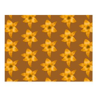 Brown and Orange Lily Pattern. Postcard