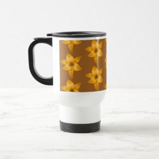 Brown and Orange Lily Pattern. Travel Mug