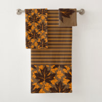 Brown and orange maple leaves fall bath towel set