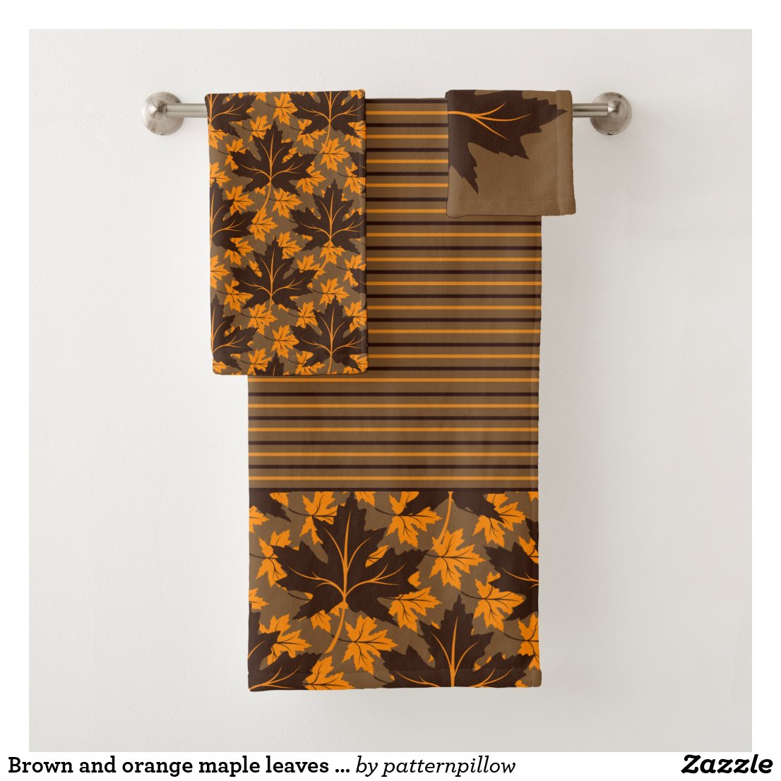 Brown and orange maple leaves fall bathtowel set