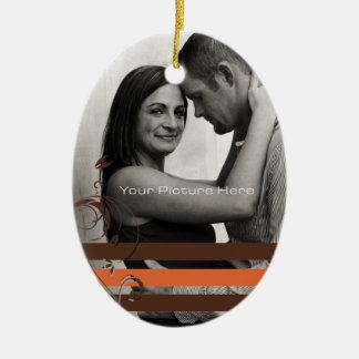 Brown and Orange Photo Engagement Ceramic Ornament