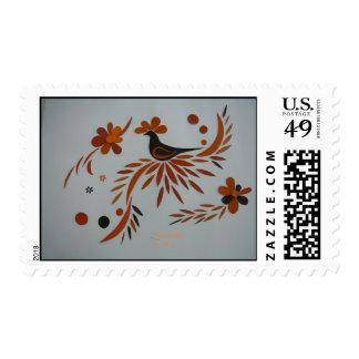"""Brown and Orange"" Postage Stamp"