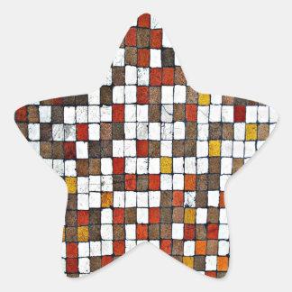 Brown and Orange Squares Star Sticker