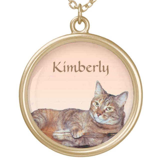 Brown and Orange Tabby Cat Necklace