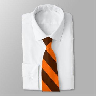 Beach Themed Brown and Orange University Stripe II Tie