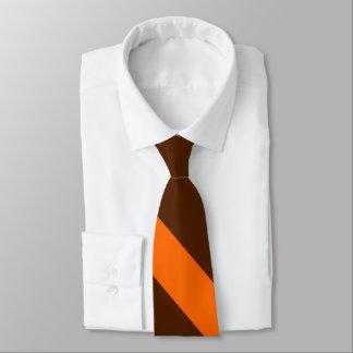 Brown and Orange University Stripe Tie