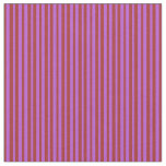 [ Thumbnail: Brown and Orchid Colored Lines/Stripes Pattern Fabric ]