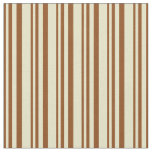 [ Thumbnail: Brown and Pale Goldenrod Colored Striped Pattern Fabric ]