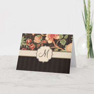 Brown and Peach Retro Floral, Stripes and Monogram Note Card