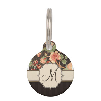 Brown and Peach Retro Floral, Stripes and Monogram Pet ID Tag