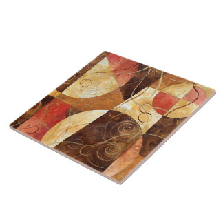 Brown and Pink Abstract Painting Ceramic Tile