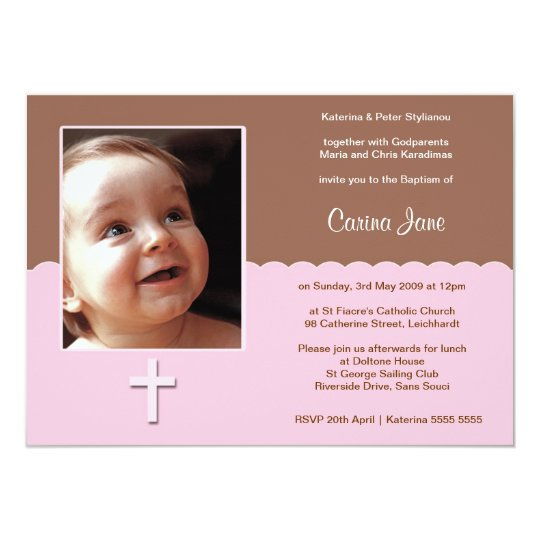 Brown and Pink Baptism Invitations