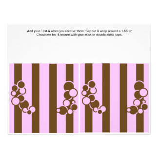 Brown and Pink Birthday Custom Candy Bar Wrappers Full Color Flyer
