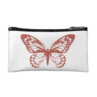 Brown and Pink Butterfly Makeup Bags