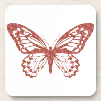Brown and Pink Butterfly Beverage Coaster