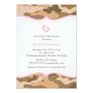 Brown and Pink Camo Baby Shower Invitation