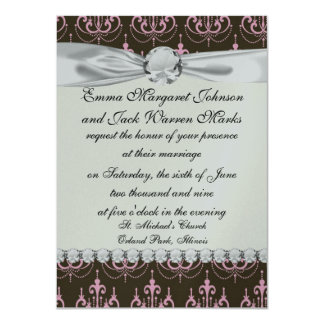brown and pink chandelier french damask card