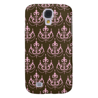 brown and pink chandelier french damask galaxy s4 case