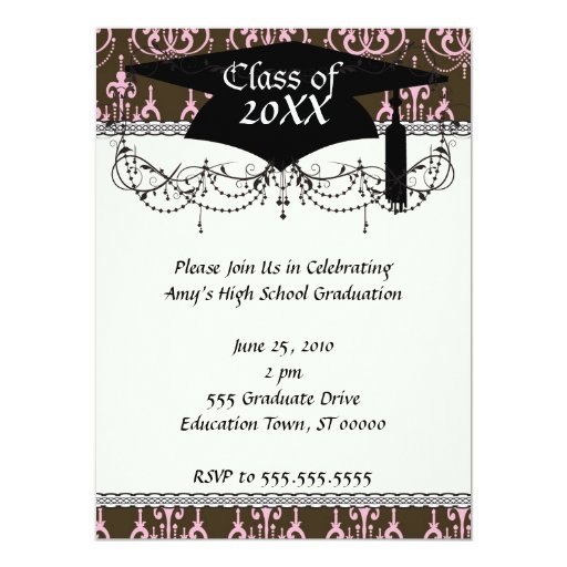 brown and pink chandelier french damask  grad 5.5x7.5 paper invitation card