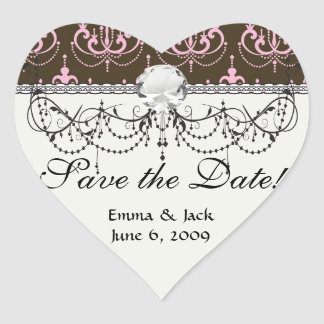 brown and pink chandelier french damask heart sticker