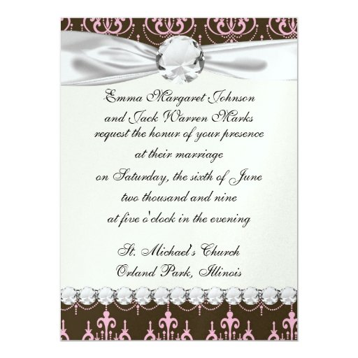 brown and pink chandelier french damask announcements