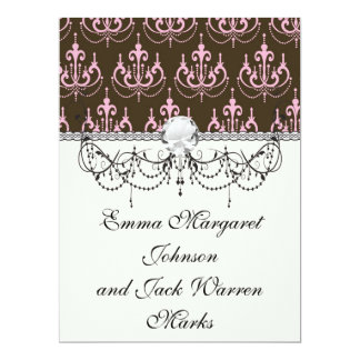 brown and pink chandelier french damask 6.5x8.75 paper invitation card