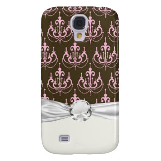 brown and pink chandelier french damask samsung s4 case