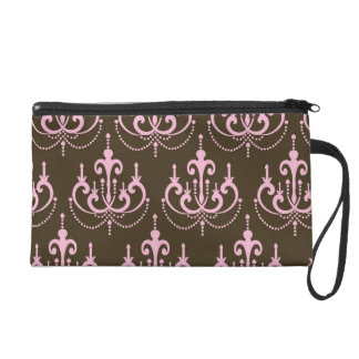 brown and pink chandelier french damask wristlet purse