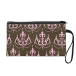 brown and pink chandelier french damask wristlet purses