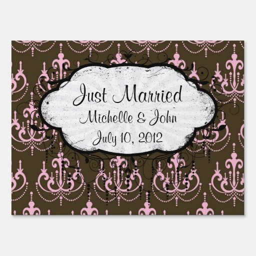 brown and pink chandelier french damask signs