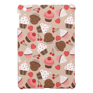 Brown And Pink Cupcakes, Hearts And Cherries iPad Mini Case