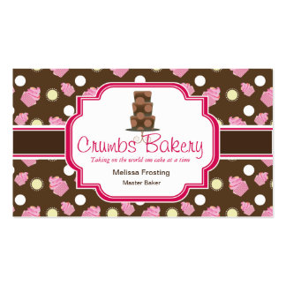 Brown and Pink Cute Cake Bakery Business Cards