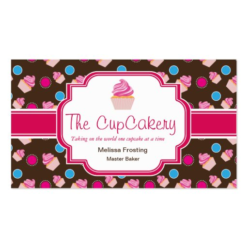 Brown and Pink Cute Cupcake Bakery Business Cards