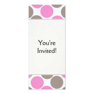 Brown And Pink Dots 4x9.25 Paper Invitation Card