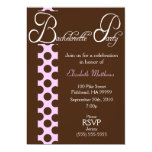 Brown and Pink Dots Bachelorette Party Invitation