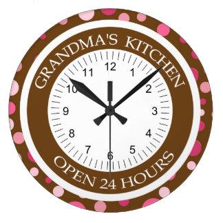 Brown and Pink Dots Grandma's Kitchen Wall Clocks
