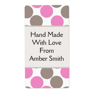 Brown And Pink Dots Custom Shipping Label