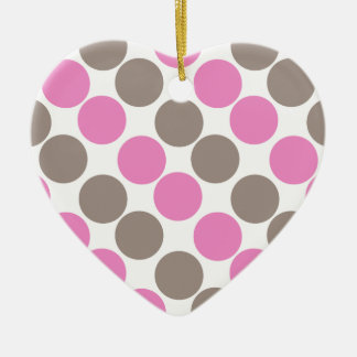 Brown And Pink Dots Christmas Tree Ornaments