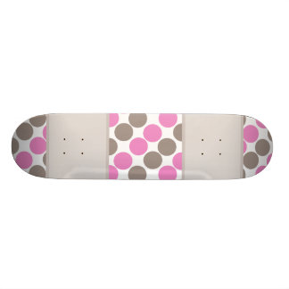 Brown And Pink Dots Skate Board