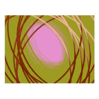 brown and pink egg on the nest postcard