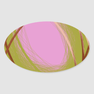 brown and pink egg on the nest oval stickers