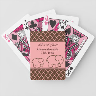 Brown and Pink Elephant Baby Girl Announcement Bicycle Playing Cards