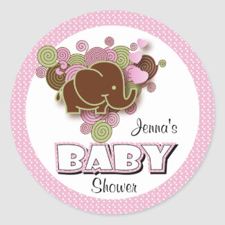 Brown and Pink Elephant | Baby Shower Classic Round Sticker