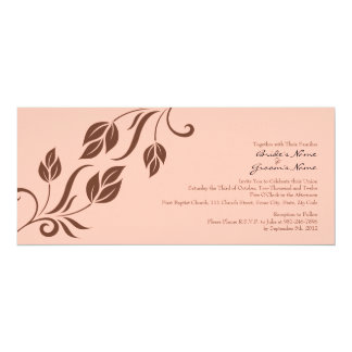 Brown and Pink Floral Leaves Wedding Invitation