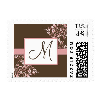 Brown and Pink Floral Monogram Wedding Stamps