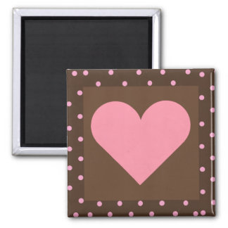 Brown and Pink Heart Magnet