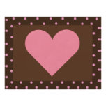 Brown and Pink Heart Print